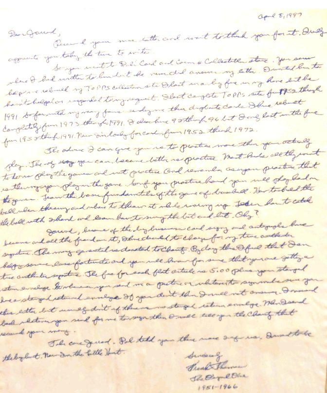 Pittsburgh Pirates Memorabilia: Frank Thomas Letter and 1954 Bowman Card